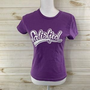 American Eagle Purple Satisfied Graphic T-Shirt